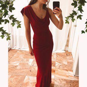 ABS Allen Schwartz Red Maxi Gown Bridesmaid Dress